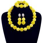 African Beads Bridal <b>Jewelry</b> Set 2017 Fashion Yellow Women <b>Jewelry</b> Set <b>Handmade</b> Nigerian Beads Necklace Set Free Shipping 10078