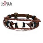 Geoaray Adjustable Length Men Leather Bracelet Classic Vintage Daily Sport Men's <b>Jewelry</b> Wolf Teeth <b>Accessories</b>