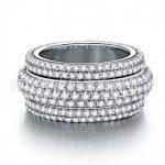 Fashion <b>Jewelry</b> <b>Handmade</b> 7 rows 300pcs Clear 5A Zircon stone 925 Sterling silver Women Engagement Wedding Band Ring Sz 5-11