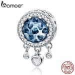 BAMOER 100% 925 Sterling Silver Dangle Heart Radiant CZ Crystal Beads fit Women Charm Bracelets Necklaces DIY <b>Jewelry</b> SCC724
