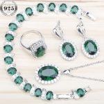 925 Sterling <b>Silver</b> Green Zircon Costume Jewelry Sets Women <b>Bracelets</b> Earrings Rings Set With Stones Pendant&Necklace Gift Box