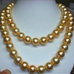 lady's women's silver <b>jewelry</b> 10mm gold-color AAA south sea shell pearl necklace 36 INCH beads <b>jewelry</b> <b>making</b>