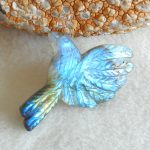 Natural Carved Bird Labradorite Pendant,<b>Fashion</b> <b>Jewelry</b> For Women Earrings Accessories,41x28x6mm,6.3g
