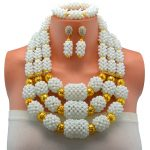 <b>Handmade</b> White African <b>Jewelry</b> Set Crystal Beads Necklace Nigerian Wedding African Bridal <b>Jewelry</b> Sets 2017 Free Shipping