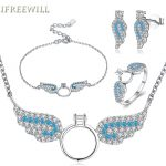 925 <b>Silver</b> four Jewelry set for woman fashion Angel wings fine <b>earrings</b> rings and necklaces and bracelet