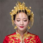 Chinese Style Vintage <b>Wedding</b> Hair <b>Jewelry</b> Gold Color Bridal Headdress Hair Accessories Combs Coronet Hairpins Earrings Tiaras