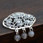 FNJ 925 Silver Flower Pendant Bead Tassel 100% Pure S925 Solid Thai Silver Pendants for Women Men <b>Jewelry</b> <b>Making</b>