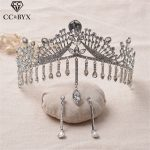 CC Tiaras And Crowns Luxury High Quality Earrings Baroque Style Water Drop <b>Wedding</b> Hair Accessories For Bride <b>Jewelry</b> Gift HG088