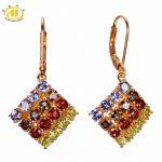 Hutang Natural Multi Gemstone Tanzanite & Peridot Solid 925 <b>Sterling</b> <b>Silver</b> Romantic Earrings Fine Stone <b>Jewelry</b> For Women Gift