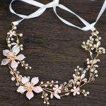 Gold Flower Bridal Headband Pearl Tiara Wedding Hair Accessories Crystal Hair Vine Bride Headpiece <b>Handmade</b> Hair <b>Jewelry</b>