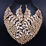 Bridal Gift Nigerian Wedding African Beads <b>Jewelry</b> Set Fashion Dubai Crystal <b>Jewelry</b> Sets Costume Design Big <b>Necklace</b>