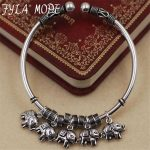 Fyla Mode 15g Vintage 100% Pure 925 Sterling Handwork Thai <b>Silver</b> Jewelry Auspicious Elephant Charms Bangles for Women Gift