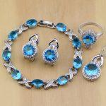 925 <b>Silver</b> Jewelry Blue Cubic Zirconia White Crystal Earrings Pendant Necklace Rings <b>Bracelet</b> Jewelry Sets For Women