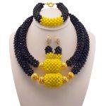 2017 Nigerian Wedding Costume Statement Jewelry For Women African Choker Beads Jewelry Sets Bridesmaid Necklace <b>Bracelet</b> Set