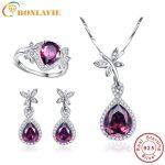 BONLAVIE Butterfly Spessartine Garnet Wedding Bridal <b>Earrings</b> & Necklaces & Rings Water Drop Jewelry Sets Sterling <b>Silver</b> 925
