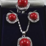 Women's Wedding 10mm & 14mm red South sea Shell Pearl Earrings Ring Necklace Pendant Set 5.23 5.23 real silver <b>jewelry</b>