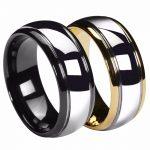 8mm Dome Gold/ Black Mens Tungsten Ring <b>Wedding</b> Band Gunmetal Bridal <b>Jewelry</b> Size 6-13