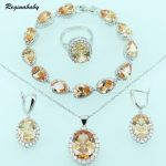Reginababy Orange Morganite <b>Silver</b> color Overlay Jewelry Sets For Women <b>Bracelet</b> Earring Necklace Ring Pendant