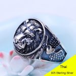 925 Sterling <b>Silver</b> Retro Men Male Animal Lion Head Ring Thai <b>Silver</b> Fine <b>Jewelry</b> Gift Finger Ring CH042203