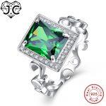 J.C Fine <b>Jewelry</b> Emerald & Tanzanite Topaz For Women Wedding Band <b>Jewelry</b> Solid Real 925 Sterling <b>Silver</b> Ring Size 6 7 8 9