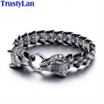 TrustyLan Punk Rock Man <b>Jewelry</b> 316L Stainless Steel With Genuine Leather Wrap Bracelet Men Cool Double Wolf Head Animal Armband