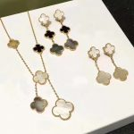Brand Wedding 925 <b>Silver</b> Jewelry Set For Women Gold Color Necklace White Mother Shell Pearl Clover Leaf Necklace Earrings Set
