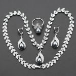 2017 Hot Selling Gray imitation Pearl Christmas Gift Jewelry Set For Women 925 <b>Silver</b> Color Pendants <b>Necklace</b> Earring Ring js31