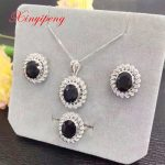 Ms 925 <b>silver</b> inlaid natural sapphire jewellery set ring necklace pendant <b>earrings</b> gift mother a good gift
