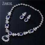 ZAKOL Luxury Sliver Color Dark Blue AAA Cubic Zirconia <b>Jewelry</b> Sets for Elegant Bridal Wedding Flower <b>Jewelry</b> FSSP112
