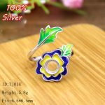Rose 100% 925 Sterling Silver Ring Blank <b>Jewelry</b> Fit Round 6.5mm Royal Cloisonne Vintage Ring For Women Base Tray DIY <b>Handmade</b>