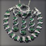 Green Zirconia Bridal <b>Jewelry</b> Sets For Women <b>Wedding</b> Earrings Silver 925 <b>Jewelry</b> Bracelet Ring Pendant Necklace Set Gift Box
