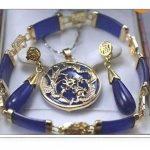 Prett Lovely Women's Wedding shipping> blue gem Earring Bracelet necklace/Pendant Sets silver-<b>jewelry</b> brinco
