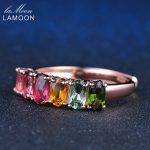 LAMOON 100% Real Natural 6pcs 1.5ct Oval Multi-color Tourmaline Ring 925 Sterling <b>Silver</b> <b>Jewelry</b> with 18K Rose Gold S925 LMRI005