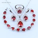 L&B Water Drop Red created Garnet <b>silver</b> Color Jewelry Sets For Women <b>Bracelet</b>/Pendant/Necklace/Earrings/Ring 925 logo