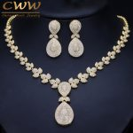 CWWZircons Noble Micro Pave Cubic Zirconia Stones Luxury Dubai Gold Color Bridal Wedding Necklace <b>Jewelry</b> Sets For Women T157