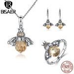 BISAER 925 Sterling <b>Silver</b> Cute Orange Bee Animal Pendants Necklaces & Stud Earrings & Ring Fashion <b>Jewelry</b> Sets WES043