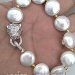 HOT HUGE AAA 14-15MM South Sea White Coin Pearl <b>Bracelet</b> 8 Inch