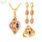 U7 Colorful Cubic Zirconia Wedding Jewelry Sets For Women Gold/<b>Silver</b> Color Clover Earrings Ring <b>Necklace</b> Set S723
