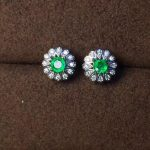 natural green emerald stud earrings 925 <b>sterling</b> <b>silver</b> natural gemstone earrings fashion women party Earrings <b>jewelry</b>