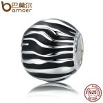 BAMOER 100% 925 Sterling Silver 2 Style Fleeting Time Black & White Enamel Beads fit Women Bracelets Necklaces <b>Jewelry</b> SCC295