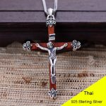 925 Sterling <b>Silver</b> Retro Jesus Wood Cross Crucifix Necklace Pendant Men Thai <b>Silver</b> Fine <b>Jewelry</b> Gift CH024339