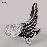 YACQ Stainless Steel Angel Wing Ring Women Biker Bling <b>Jewelry</b> <b>Antique</b> Gold Silver Color W Crystal KR04 Wholesale Dropshipping