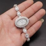 Perfect Fashion Wristwatch <b>Jewelry</b> 925 <b>Sterling</b> <b>Silver</b> WhiteTOPAZ Links Quartz Watch Bracelet 7.5 Inches W08 Free Shipping