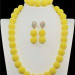 Yellow plastic imitation pearl beaded <b>jewelry</b> suit long ball Africa Nigeria wedding bridal <b>necklace</b> bracelet earring <b>jewelry</b> set