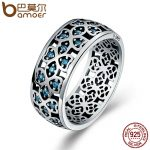 BAMOER 100% 925 Sterling Silver Petals of Love Sweet Clover Blue CZ Finger Rings for Women Engagement <b>Jewelry</b> S925 Gift SCR064