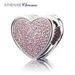 ATHENAIE Genuine 925 <b>Silver</b> with Pave Pink CZ Heart-shaped to My Miss Charm Beads Fit All European Bracelets <b>Necklace</b> Color Pink