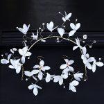 Korean Mori Bride White crystal flower Hoop Earrings Set <b>Jewelry</b> <b>Wedding</b> headdress sweet wreath ribbons