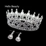 Clear Crystal Luxury Hair <b>Jewelry</b> Round Rhinestones Wedding Tiaras And Crowns Bridal Quinceanera Pageant Queen Tiara For Bride