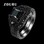 ZOURU Brand Hot Black Large Austrian Crystsal Stone Gun Black Gold Plating Ring Women Men <b>Jewelry</b> <b>Accessories</b> Gift