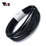 Vnox Black Genuine Leather Bracelet Men Magnetic Clasp Cowhide Braided Multi-layer Wrap <b>Jewelry</b> 8″